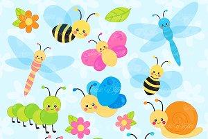 Cute Garden bugs Clipart