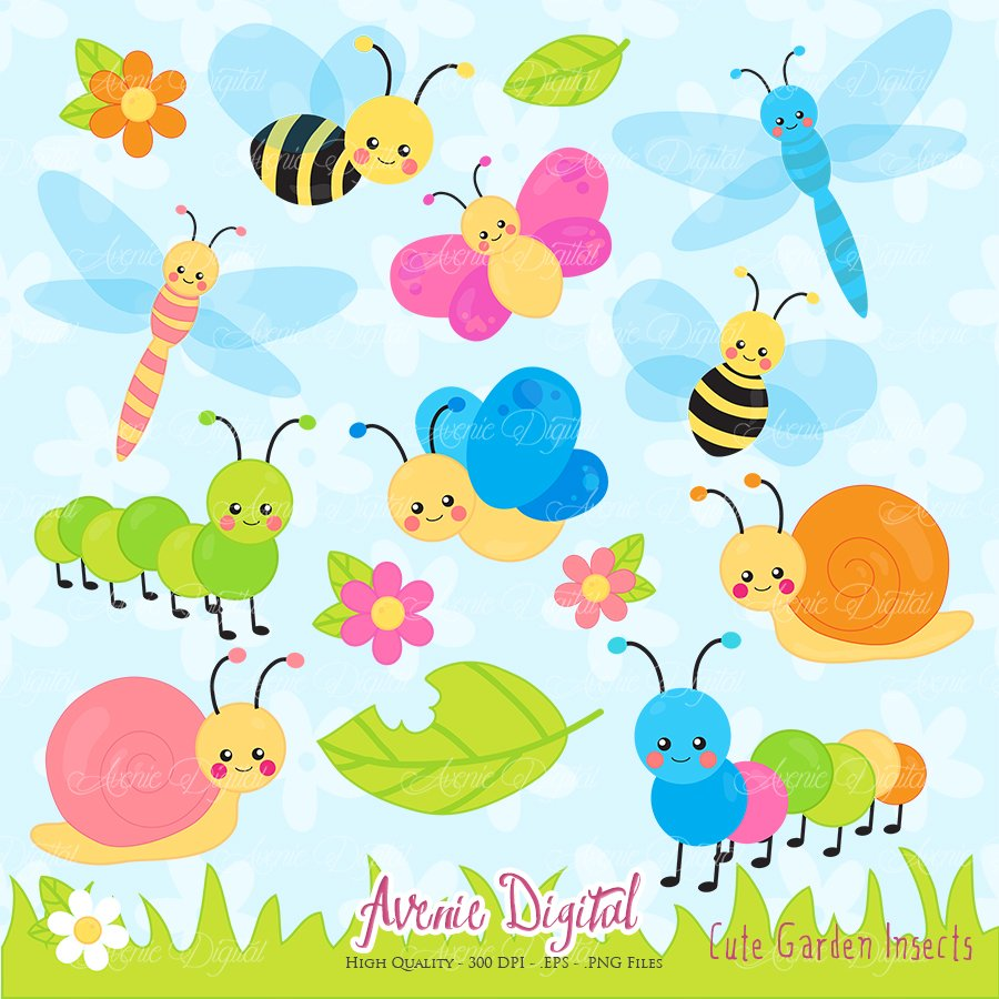 cute garden bugs clipart illustrations creative market - Garden Clipart