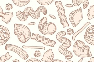 Pasta hand drawn seamless pattern