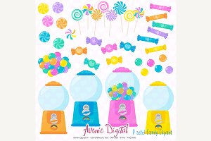 Pastel Candy Shop Clipart
