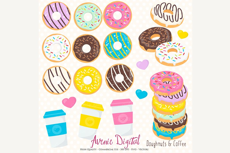 Donut cute. And coffee clipart