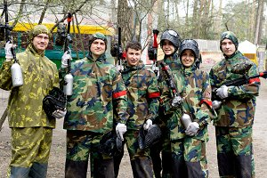 Paintball team with guns