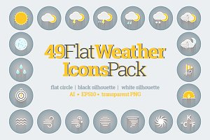 49 Flat Weather Icons Pack