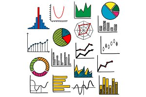 Infographic charts or graphs icons