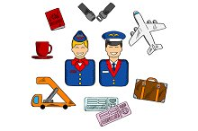 Air travel and service icons