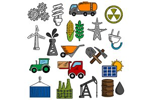 Industry and energy icons set