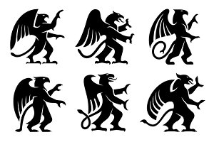 Heraldic griffins with raised paws