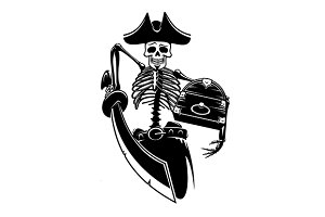Pirate captain skeleton