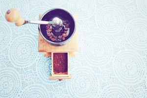 Wooden coffee grinder vintage filter