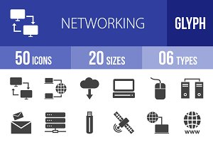 50 Networking Glyph Icons