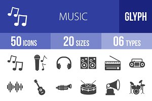 50 Music Glyph Icons
