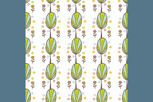 №119 Pattern with trees and flowers