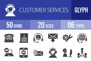 50 Customer Services Glyph Icons