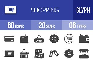 60 Shopping Glyph Icons