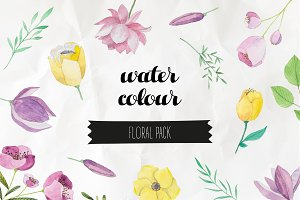 Watercolor Flowers Vector Pack