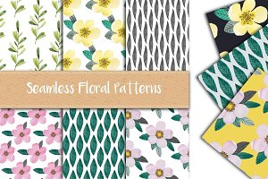 6 Hand Drawn Floral Patterns