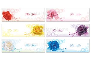 6 rose banners collection set
