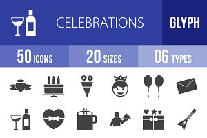 50 Celebrations Glyph Icons