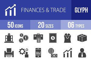 50 Finances & Trade Glyph Icons