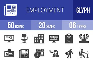 50 Employment Glyph Icons