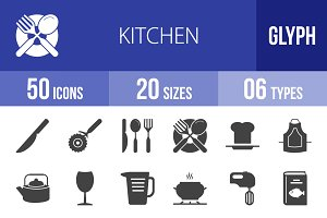 50 Kitchen Glyph Icons