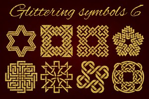 Golden glittering symbols pack 6