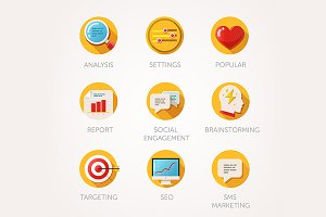 Marketing agency icons set
