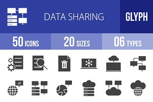 50 Data Sharing Glyph Icons