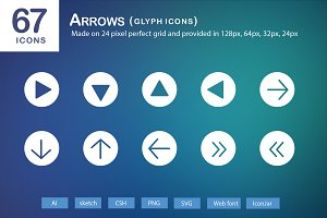 67 Arrows Glyph Icons
