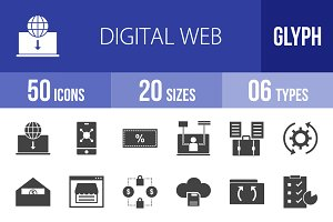 50 Digital Web Glyph Icons