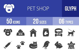50 Pet Shop Glyph Icons