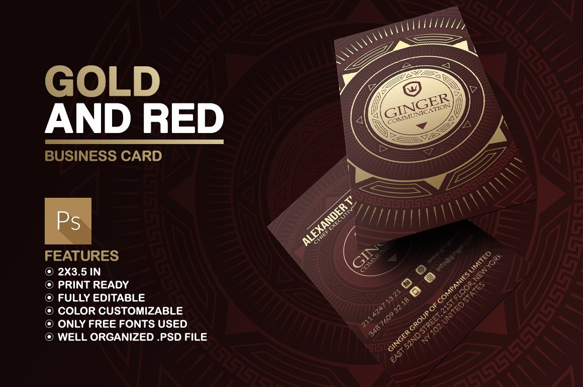 Gold And Red Business Card ~ Business Card Templates ~ Creative Market