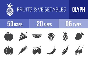 50 Fruits & Vegetables Glyph Icons