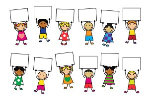 Cartoon kids with placards