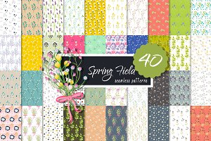 Retro Spring Field Seamless Patterns