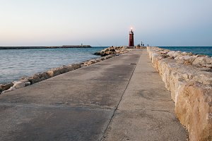 Seawall and lighthouse