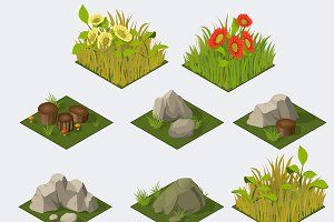Set of Isometric landscape Tiles
