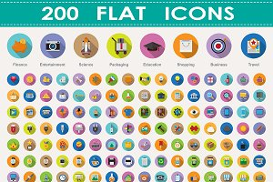 200 flat icons