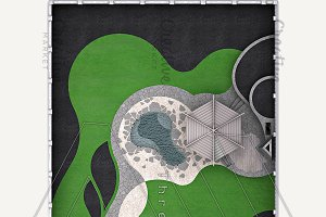 Landscaping master plan, 3d render