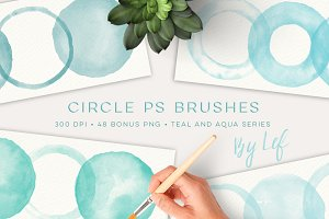 Watercolor Circles Photoshop Brushes