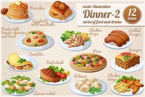 Dinner-2: Cartoon vector food icons