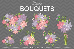 Flower Bouquet Vector Pink Purple