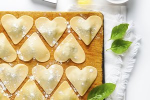 ravioli in a heart shape.