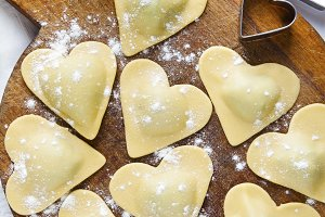 ravioli in shape of heart.