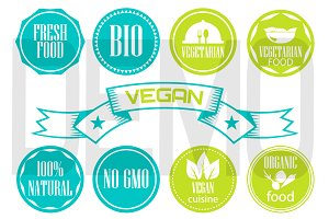 Eco labels. vegetarian food emblems.