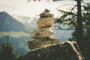 Stacked rocks / Cairn. Alps.