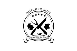 Butcher Shop Labels, Badges Logo