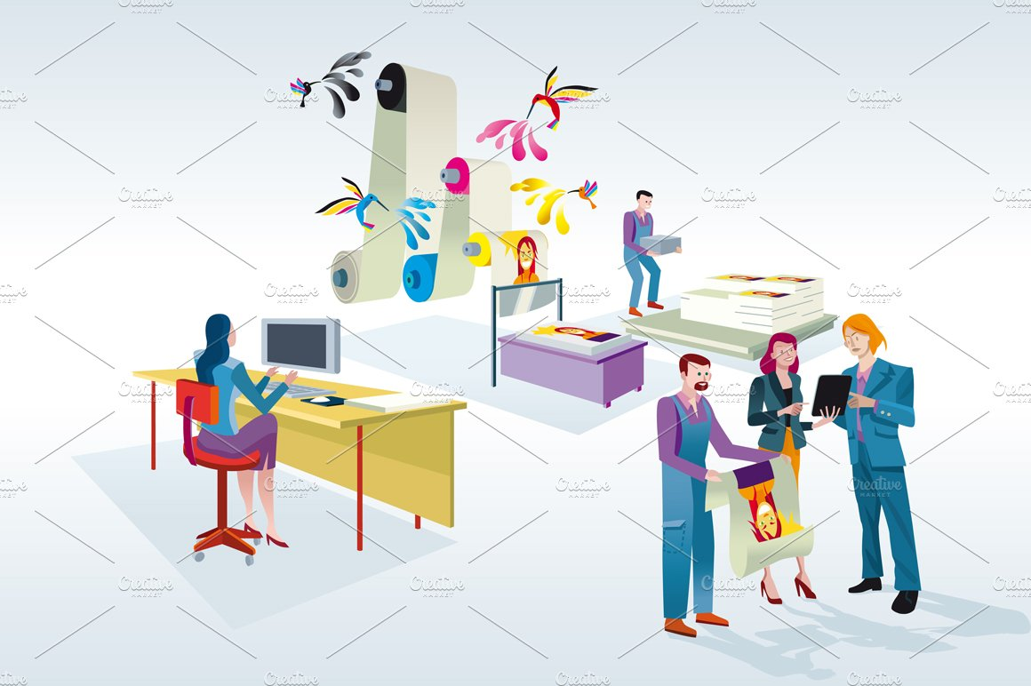 Printing Press Illustrations Creative Market