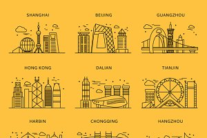 Icons Chinese Major Cities