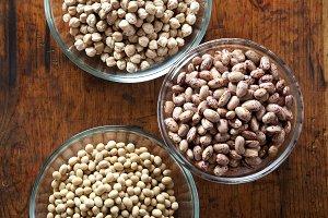 Bowls of various legumes